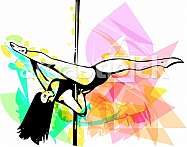 Young pole dance woman illustration on abstract background