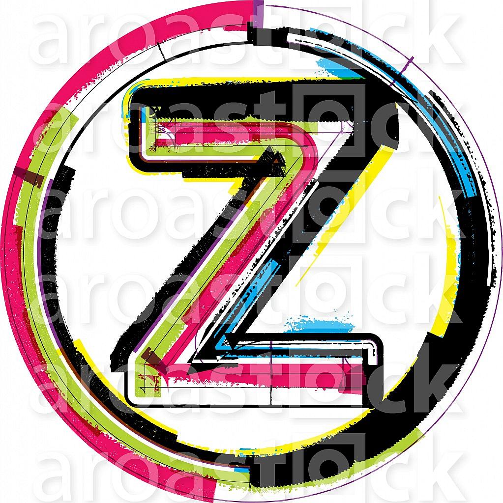 Colorful Grunge Font LETTER Z