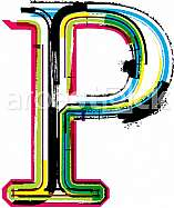 Font illustration, letter P