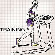 Illustration of Athletic woman on gym class walk treadmill running deck