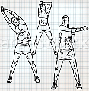 Stretching exercises sketch illustration