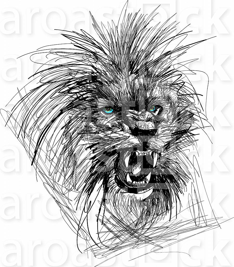 Sketch of lion head vector illustration