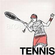 Illustration of Woman playing tennis