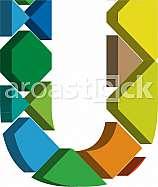 Colorful three-dimensional font letter U