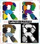 Colorful three-dimensional font letter R