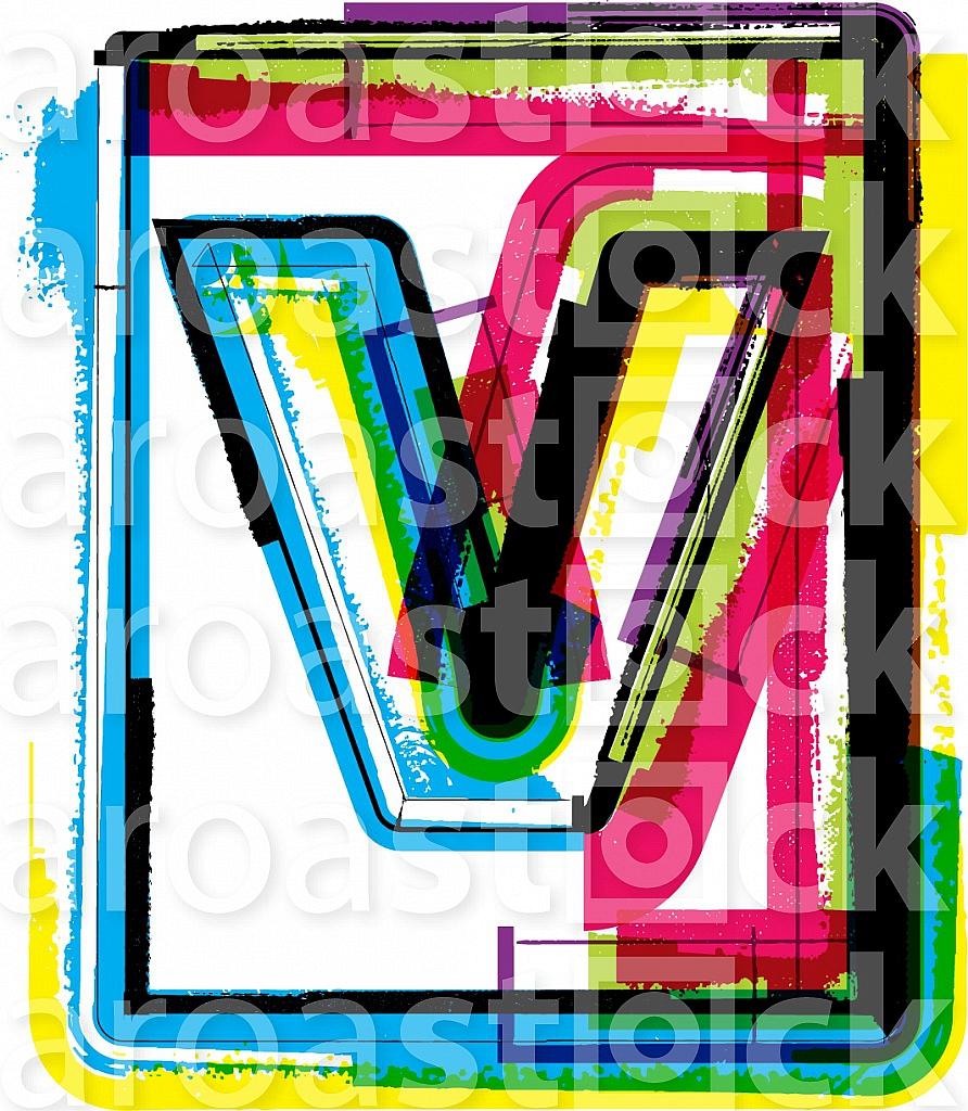Colorful Grunge Font LETTER v