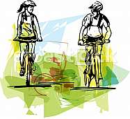 Abstract illustration of a couple taking a ride on a bicicle