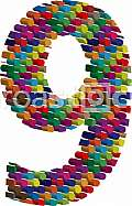 Colorful three-dimensional font number 9
