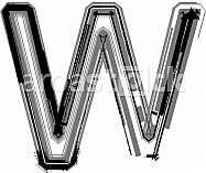 Grunge font. Letter W