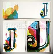 Artistic Greeting Card Font vector Illustration - Letter J