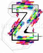 Font illustration, letter z