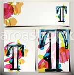 Artistic Greeting Card Font vector Illustration - Letter T