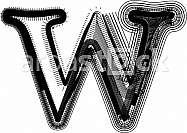Font illustration. Letter w