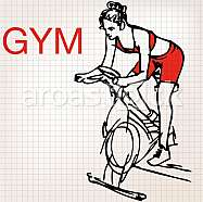 illustration of young women on stationary bikes exercising in the gym