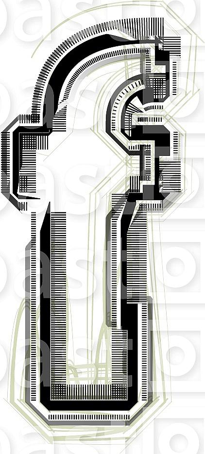 Font illustration. Letter f