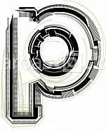 Font illustration. Letter p