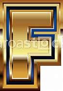 Golden Font Letter F