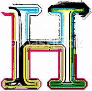 Font illustration, letter H