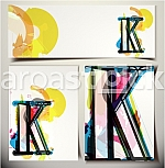 Artistic Greeting Card Font vector Illustration - Letter K