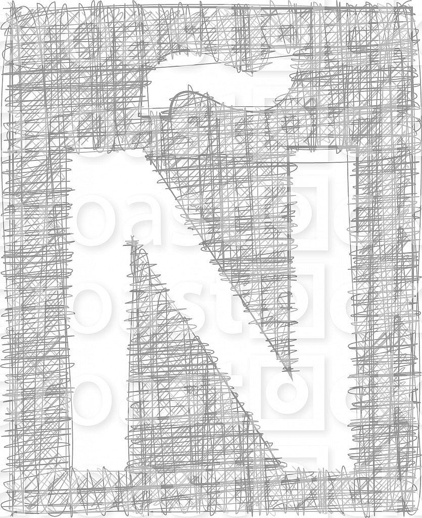 Freehand Typography Letter Ñ