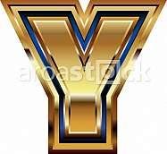 Golden Font Letter Y