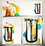 Artistic Greeting Card Font vector Illustration - Letter U