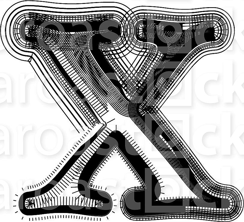 Font illustration. Letter x