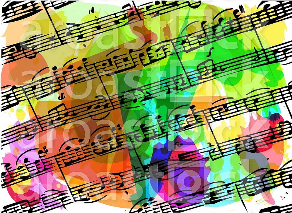 colorful musical notes book illustration on abstract background