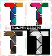 Colorful three-dimensional font letter T