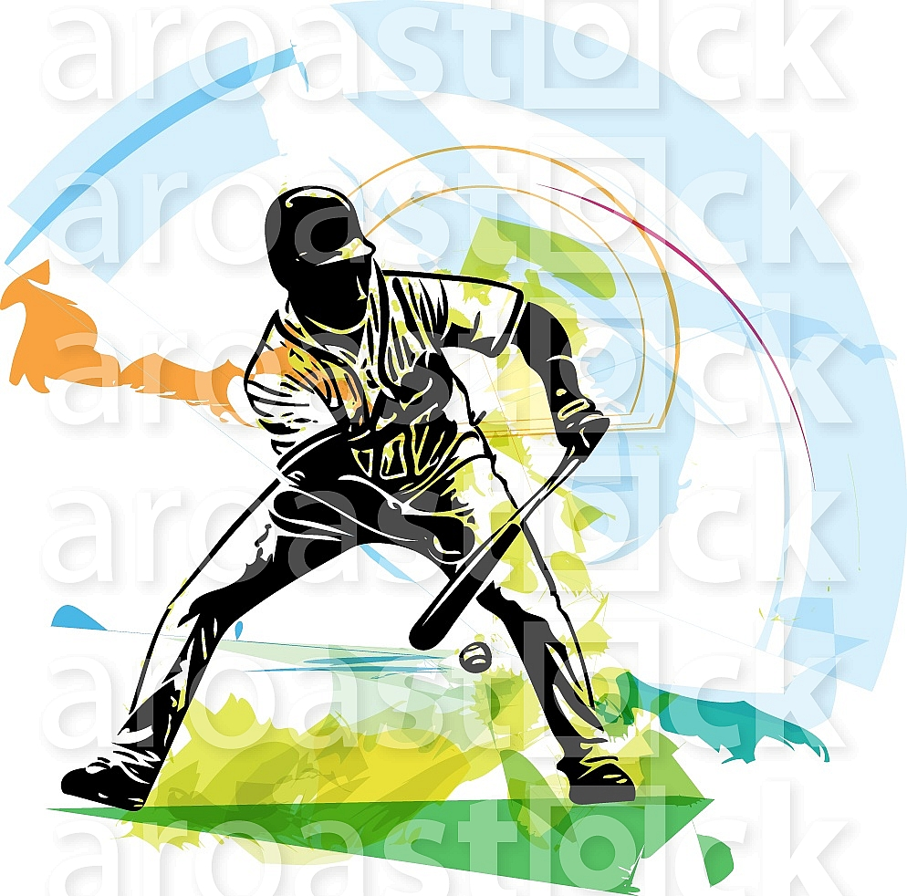 Illustration of baseball player playing with abstract background
