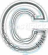 Font illustration letter C
