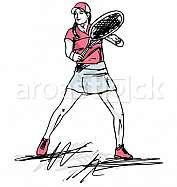 Sketch of woman playing tennis