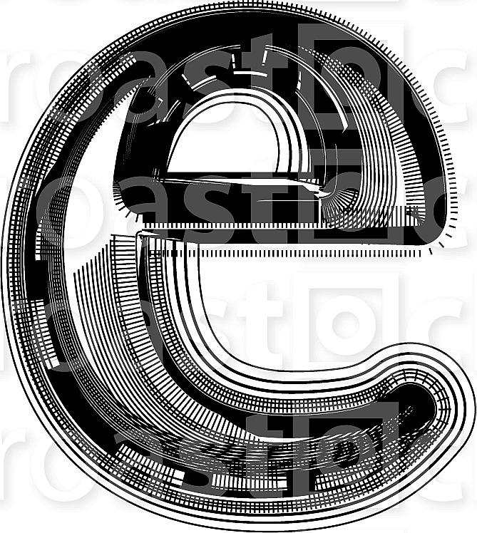 Font illustration. Letter e