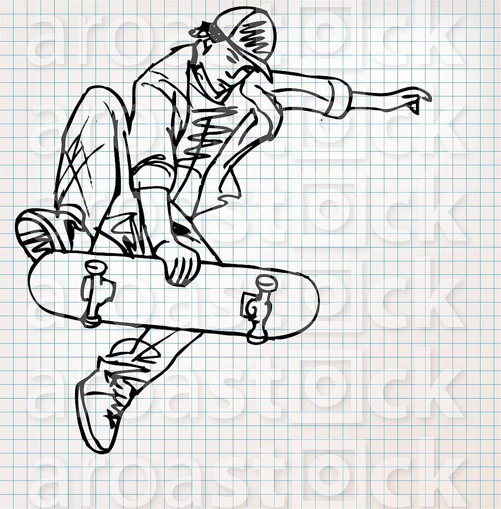 Skater sketch illustration