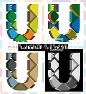 Colorful three-dimensional font letter U