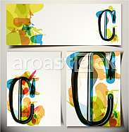 Artistic Greeting Card Font vector Illustration - Letter C