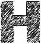 Hand draw font. LETTER H