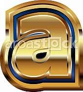 Golden Font Letter a