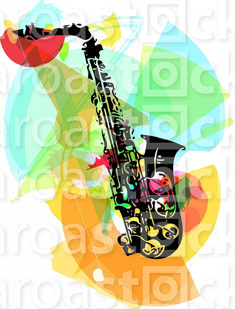 colorful saxophone illustration on abstract background