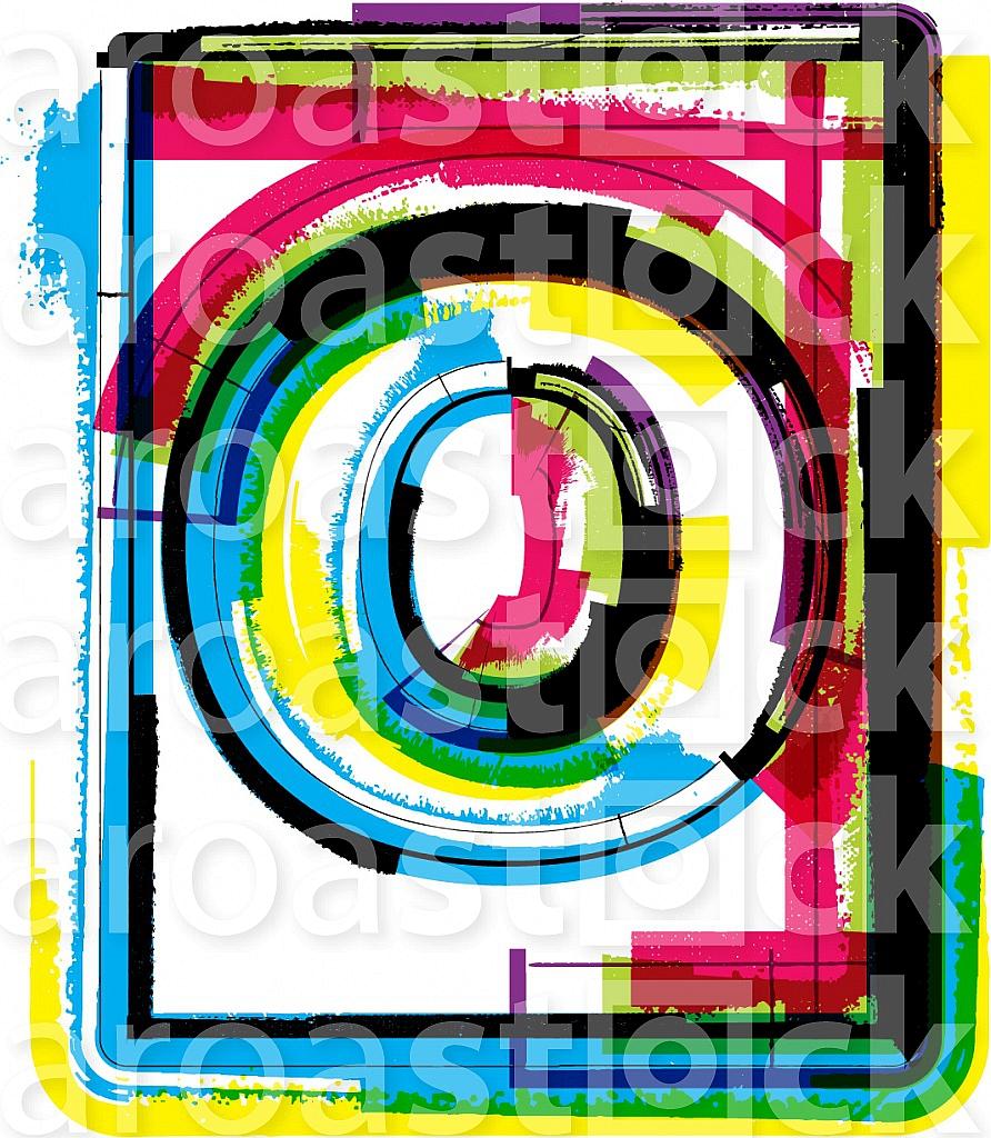 Colorful Grunge Font LETTER o