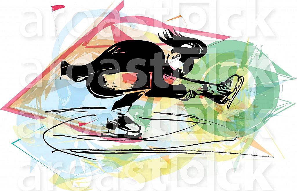 woman ice skater skating at colorful sports arena